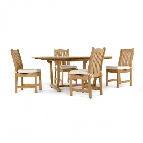 5 piece teak patio dining set]